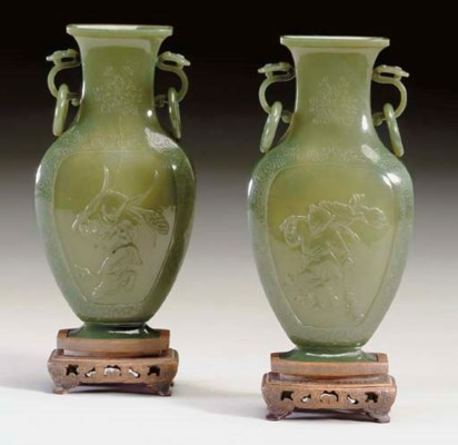 A PAIR OF CHINESE OLIVE GREEN