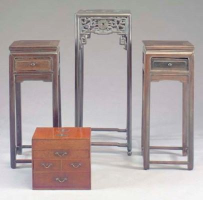 A PAIR OF CHINESE HARDWOOD TAL