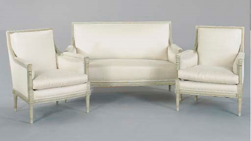 A LOUIS XVI STYLE GRAY-PAINTED