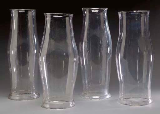A GROUP OF SIX BLOWN GLASS HUR