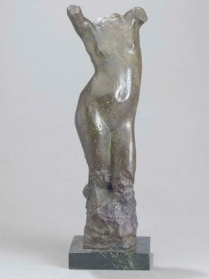 A PAINATED BRONZE FIGURE OF A