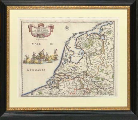 Hand colored map of