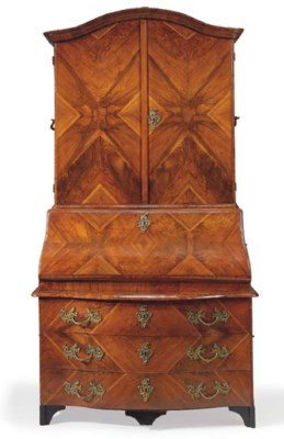 A GERMAN WALNUT AND PARQUETRY