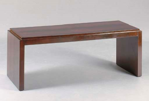 AN ART DECO STYLE WALNUT AND M