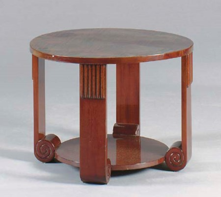 AN ART DECO PARQUETRY ROSEWOOD