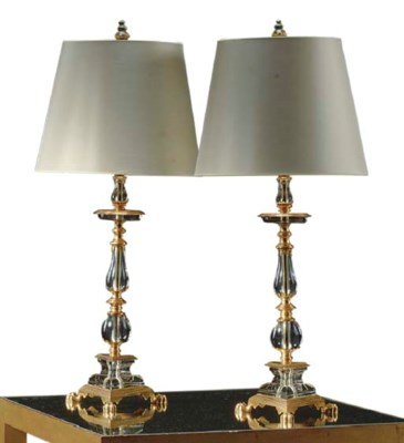 A PAIR OF ORMOLU AND MOLDED GL