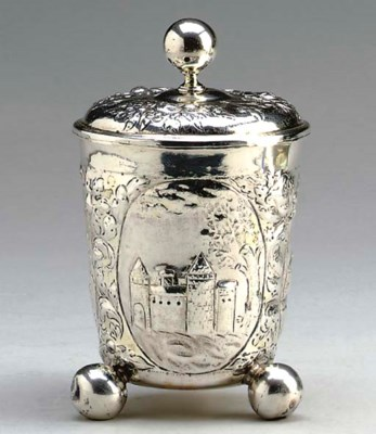 A GERMAN SILVER CUP AND COVER,