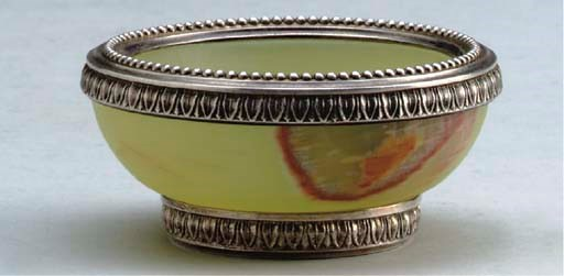 A SILVER-MOUNTED BOWENITE BOWL