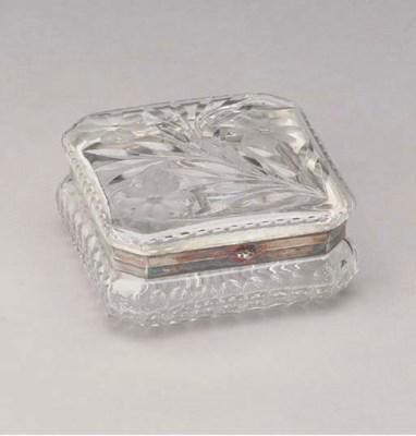 A CUT-GLASS TABLE BOX,