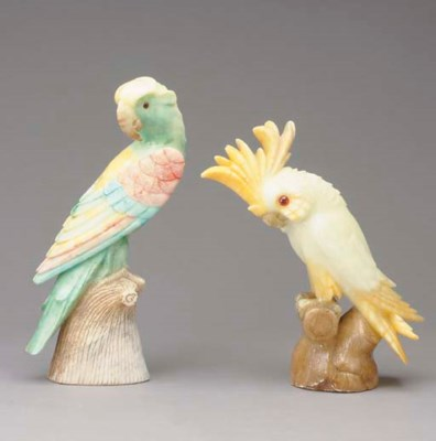 TWO ALABASTER FIGURES OF COCKA