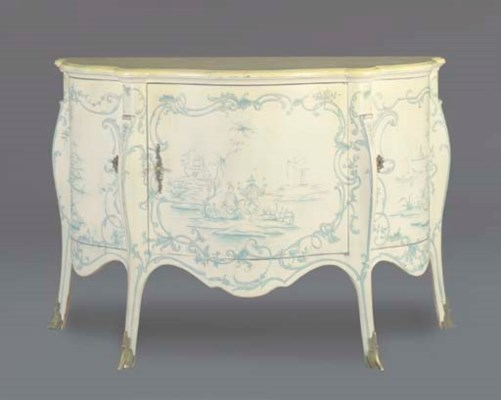 A WHITE-PAINTED AND CHINOISERI