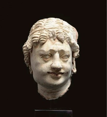 A stucco head of a bodhisattva
