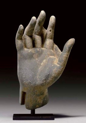 A gray schist hand of Buddha