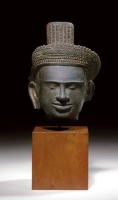 A sandstone head of a deity