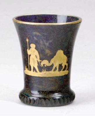 A BOHEMIAN LYTHIAN GLASS BEAKE