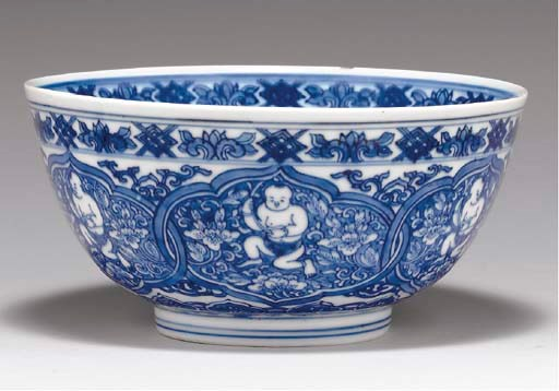 A BLUE AND WHITE BOWL,