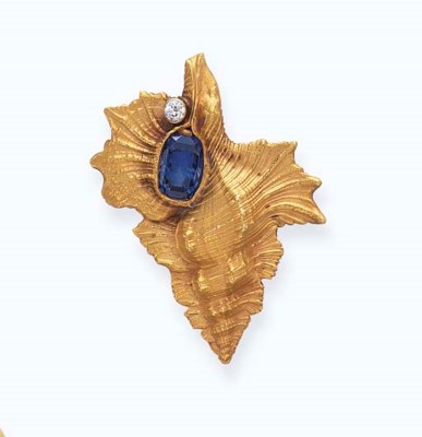 A SAPPHIRE AND DIAMOND PIN, BY