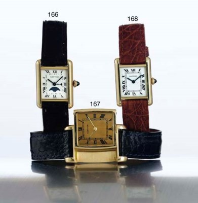CARTIER. A RARE 18K GOLD RECTA