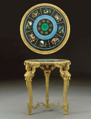 A Continental ormolu and pietr