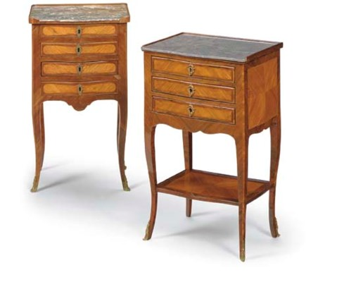TWO LATE LOUIS XV TULIPWOOD, A