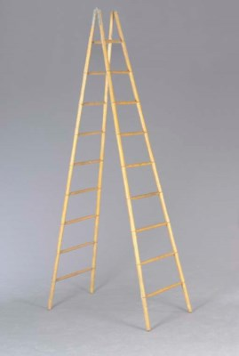 A FAUX BAMBOO LIBRARY LADDER,