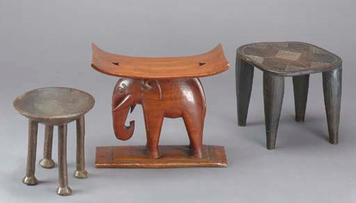 A GROUP OF THREE STOOLS, ONE W