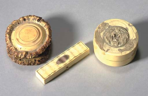 A JAPANESE CARVED IVORY BOX**,