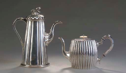A SILVER-PLATED COFFEE POT AND