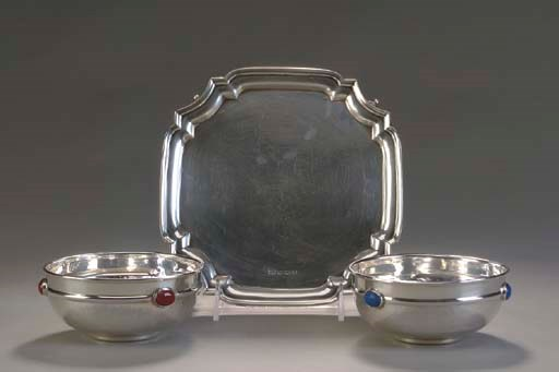 AN ENGLISH SILVER WAITER AND A