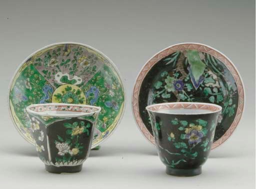 TWO CHINESE FAMILLE NOIRE CUPS