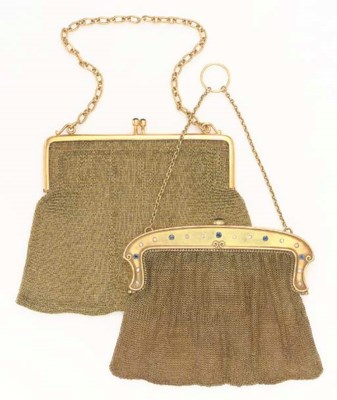 TWO GOLD MESH AND GEM-SET EVEN