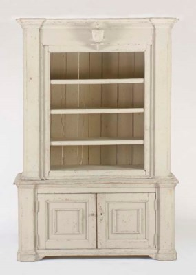 A GREY PAINTED CONSOLE CABINET