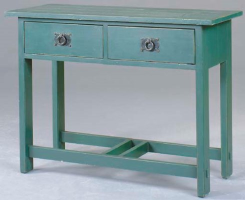 A GREEN PAINTED CONSOLE TABLE,
