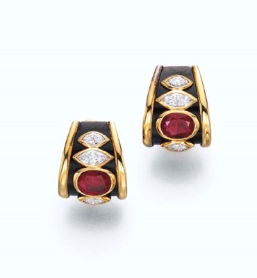 A PAIR OF RUBY, DIAMOND AND BL