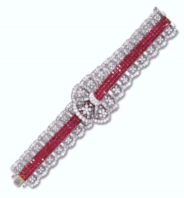 A RUBY AND DIAMOND BRACELET, B