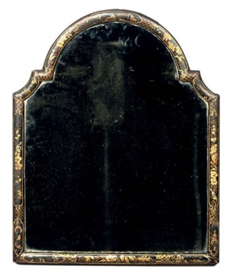 A BLACK AND GILT JAPANNED MIRR
