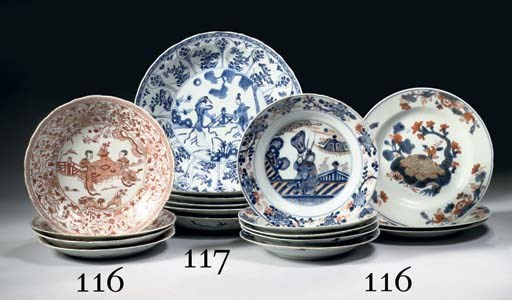 Six blue and white large plate