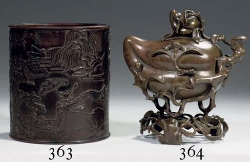 A bronze tripod 'Peach' censer