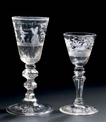 Two German engraved goblets