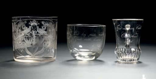 Three Bohemian engraved small