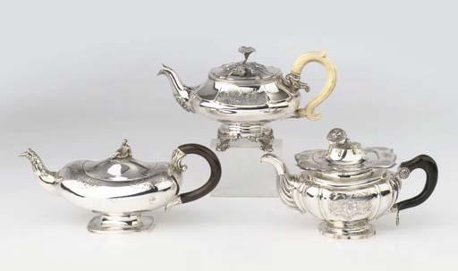 Three Dutch silver teapots