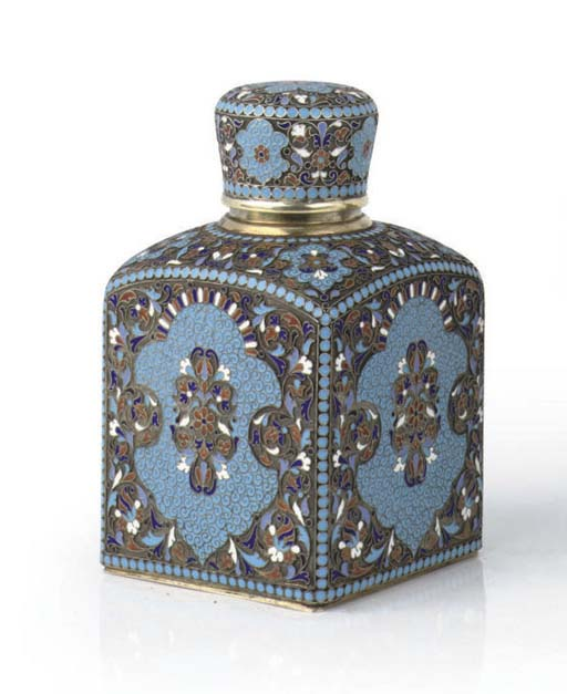 A Russian silver-gilt cloisonné enamel tea-caddy
