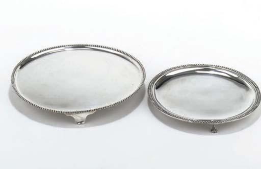 Two Dutch silver salvers