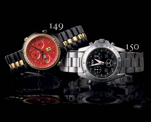 A STAINLESS STEEL WATER RESISTANT CHRONOGRAPH WRISTWATCH WITH DATE, BY PORSCHE