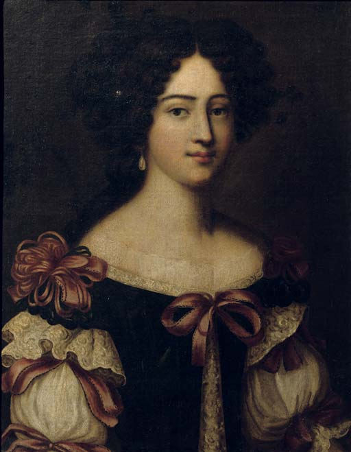 Portrait of a lady, said to be one of the Mancini sisters, half-length, in a blue dress with a white chemise, decorated wit red ribbons