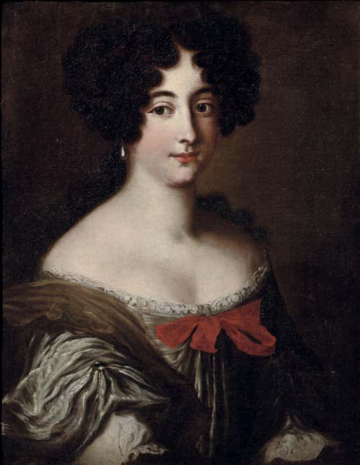 Portrait of a lady, said to be one of the Mancini sisters, half-length, in a silver dress with a brown wrap, decorated with a red ribbon