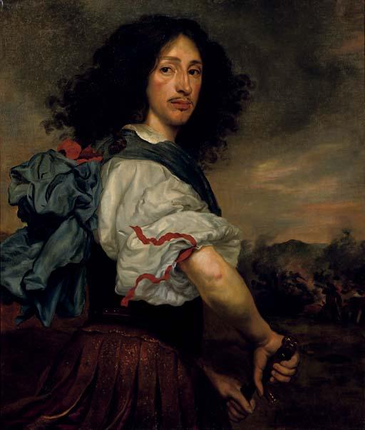 Portrait of Frederick, Landgraf of Hessen-Eschwege, half-length, as a Roman soldier, a cavalry engagement beyond