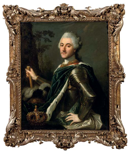Portrait of King Stanislas August II Poniatowski, half-length, in armour, his crown nearby