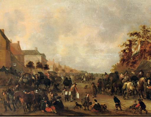 Horsemen, peasants and other figures in a busy village street
