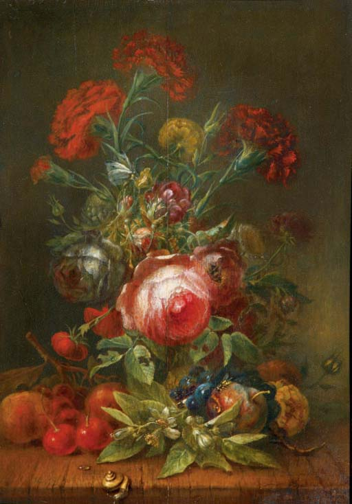 Roses, carnations, poppies and other flowers in a vase, with cherries, grapes and peaches on a wooden ledge